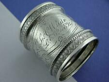 Early Coin Silver Napkin Ring w/ wonderful engraved patterns