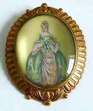 A VINTAGE TLM, THOMAS L MOTT BROOCH WITH A PORTRAIT OF A GEORGIAN LADY