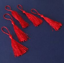 5  Red  Silky Cotton Tassels   12 cm long