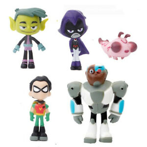 5Pcs Teen Titans Go Robin Cyborg Beast Boy Raven Action Figures Model Toy Set