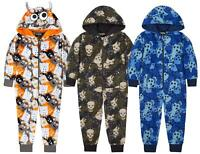 Boys Kids Childrens OneZee Soft Fleece Hooded All In One 1Onesie