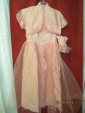 Vintage 1950's Ball gown pink Satin & Tulle Netting w/ Jacket & wristlet Gloves