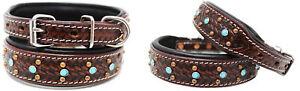 Medium 17''- 21'' Rhinestone Dog Puppy Collar Crystal Cow Leather  6013