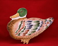 Vintage Mallard Duck Tile Wall Hanging Hand Painted Italian Ceramic
