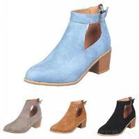 Women Ankle Buckle Boots Round Toe Block Heel Shoes 4 Colors Back Zip Punk Retro