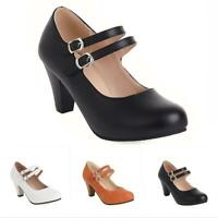 Party Women Round Toe Kitten Heel Mary Janes Pu Leather Casual Shoes 46 47 48 D