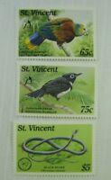 St. Vincent SC #1242-44 BLACK SNAKE - WHISTLING  WARBLER - PARROT  MNH stamp set