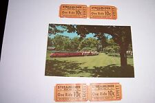 OLD RIVERVIEW PARK  CHICAGO  *MINIATURE TRAIN*  POST CARD & TICKETS
