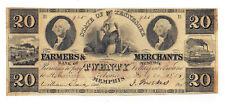 1854 The Farmers & Merchants Bank of Memphis, TN $20 Obsolete Note No.925 Crisp