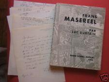 Frans Masereel Luc Durtain Lettre manuscrite signé dédicace tapuscrit E/O 600ex