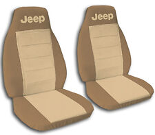 2 Tan and Brown Jeep Grand Cherokee Seat Covers 1996-1998