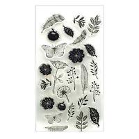 Blumen Feder Klar Silicon Stempel Seal Stamp Scrapbook DIY BriefmarkenFotoalbum#
