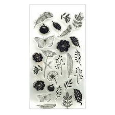 Flower Feather Transparent Clear Silicone Stamp Seal DIY Scrapbook Photo Album