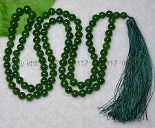 AAA 8mm Tibetan Buddhism 108 Green Jade Prayer Bead Mantra Mala Necklace
