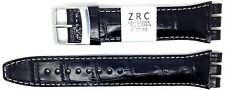 Nuevo ZRC 19mm (22mm) Reloj Correa De Cuero Negro Compatible Para Swatch ® ZL6431991