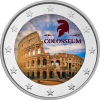 2 Euro Gedenkmünze mit  coloriert  Farbe / Farbmünze  Rom Kolosseum  / Italien