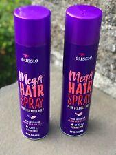 NEW LOT OF 2 Aussie Mega Hold with Jojoba Oil & Sea Kelp Hairspray 17oz X2 Spray