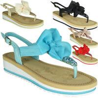 Womens Wedge Sandals Ladies Comfy Flat Slingback Summer Toe-Post Shoes Sizes