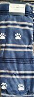 "Tommy Hilfiger Fleece Blue Grey Stripe Dog Paws Plush Throw Blanket 50"" x 70"""