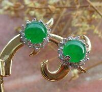 White Gold Plate Green JADE Earring Cabochon Circle Diamond Imitation 100921