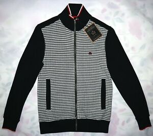 MERC MENS DOGTOOTH ZIP THROUGH TRACK TOP IN BLACK SIZE XS NWT