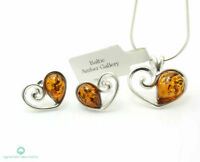 HEART BALTIC AMBER SILVER 925 SET EARRINGS & NECKLACE CHAIN Certified & BOX