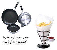 Frying Pan 3-Piece Set with Fries Stand