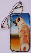 AKITA DOG GLASS CASE POUCH  NEOPRENE SANDRA COEN ARTIST WATERCOLOUR  PRINT