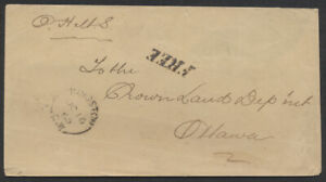 1865 OHMS Stampless Cover FREE Rated Kingston CW to Ottawa