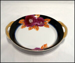 Noritake Art Deco Two Handle Bowl with Deco Floral Design and Gold Trim N324