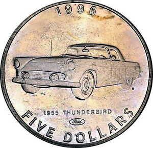 Vintage Coin Marshall Islands 1996 5 Dollars 1955 Ford Thunderbird Car KM# 317