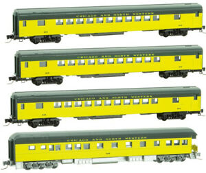 Micro-Trains MTL Z-Scale Chicago & North Western/CNW Passenger Car 4-pack