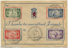 LUXEMBOURG, COVER, THANKS TO OUR ALLIED FRIENDS, MARCH 1945, 4 STAMPS        m