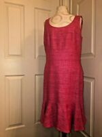 AKRIS PUNTO fuchsia pink textured silk sleeveless dress  women's 10