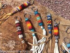 Native American Navajo Bead Design Key Chain Ring Leather