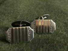 Manschettenknöpfe 835er Silber / 585er Gold um 1920-40 Art Deco