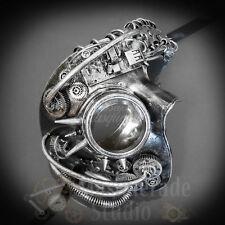Mens Steampunk Mad Scientist Phantom Costume Halloween Masquerade Mask [Silver]
