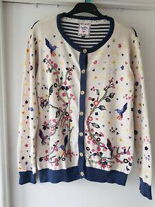 Womens Country Rose Floral Bird Pattern Cardigan Size medium
