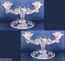 2 Tiffin Twin Lite Candlesticks, Glass Ball, Floral Etch, Double Candelabra Pair
