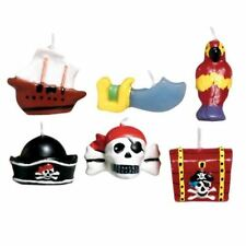 Pirate Party Children's Birthday Mini Moulded Cake Candles Ship Skull Hat Parrot