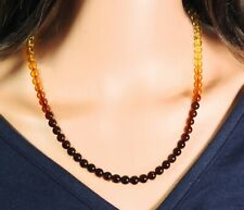 Amber Multicolour Necklace Balls With Colour Gradient Natural Jewelry Handmade