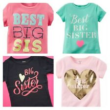 "NEW ""BIG SISTER"" Girls Shirts 2T 3T 4T 5T 4 5 6 6X 7 8 Gift Announcement Carters"