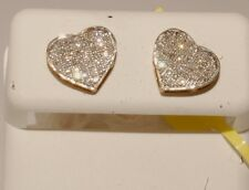 Yellow Gold and diamond ladies /kids earrings stud earrings screw back heart