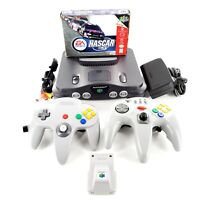 Nintendo 64 Charcoal Grey Console Bundle Lot w/ Complete Game Tight Controllers