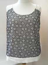 NEW RRP £35 M&S Cream Black Floral Linen Mix Sleeveless Top Size 20  #JT8