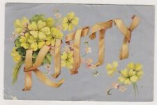 """Name / Letters postcard - """"Kitty"""" with Yellow Flowers - P/U 1911 (A78)"""