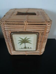 Beth Yarbrough Palm Tree Tissue Paper Holder CoverWicker Bathroom Decor