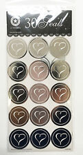 30x Silver Heart Seals Labels Stickers on Wedding Invitations/Bomboniere Tag