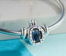 Authentic Pandora Sliver  Blue Sparkling Crown O Silver Charm 798266NMB