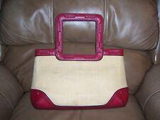 Women's Straw Shopper Tote Handbag Liz Claiborne Natural w/Faux Leather Red Trim